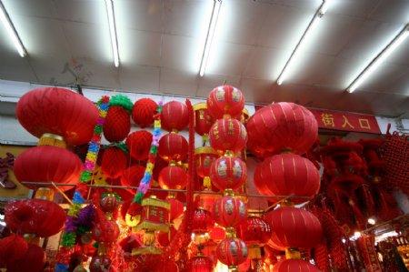 新年素材春节红灯笼鞭炮图片