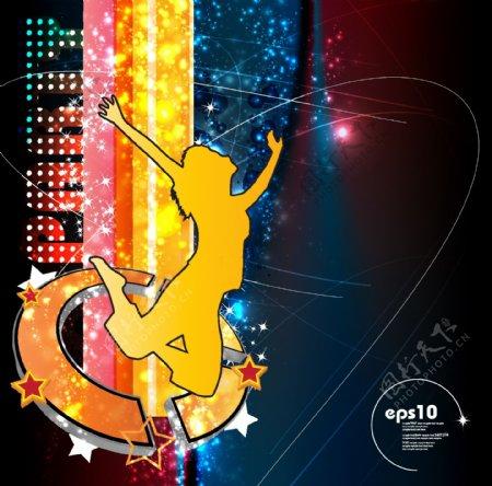 动感光线跳跃舞蹈美女音乐背景图片