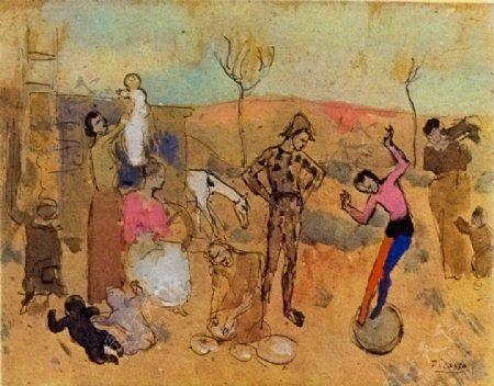 1905Familledebateleurs西班牙画家巴勃罗毕加索抽象油画人物人体油画装饰画