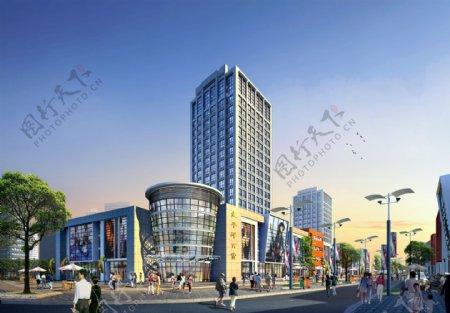 商业街日景效果图图片