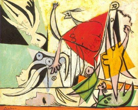 1932FemmesetenfantsauborddelamerLesauvetage西班牙画家巴勃罗毕加索抽象油画人物人体油画装饰画