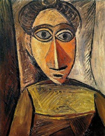 1907Bustedefemme3西班牙画家巴勃罗毕加索抽象油画人物人体油画装饰画