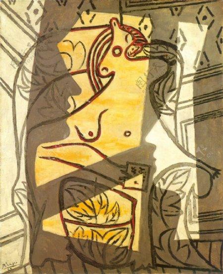 1927Femmedansunfauteuil2西班牙画家巴勃罗毕加索抽象油画人物人体油画装饰画
