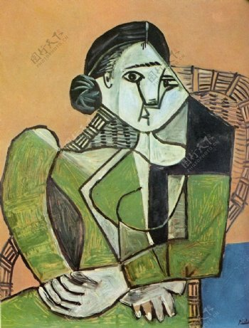 1953Fran鍣奿seassisedansunfauteuil西班牙画家巴勃罗毕加索抽象油画人物人体油画装饰画