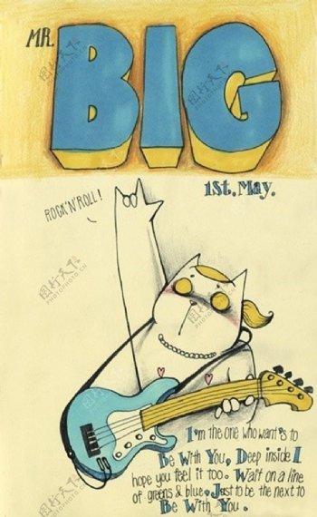 位图插画猫吉它英文免费素材