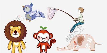 卡通狮子猴子图片