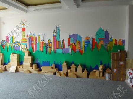 幼儿园墙绘上海印像图片