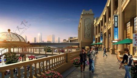 高档沿江商业街图片