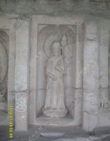 大足石刻持莲观音图片