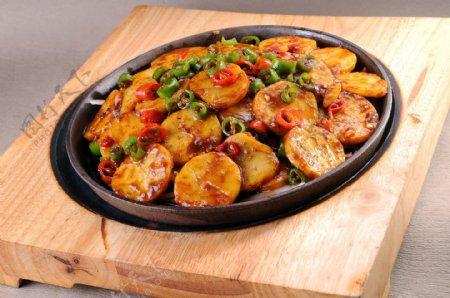 铁板土豆片图片