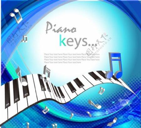 蓝色动感线条钢琴音符音乐背景图片