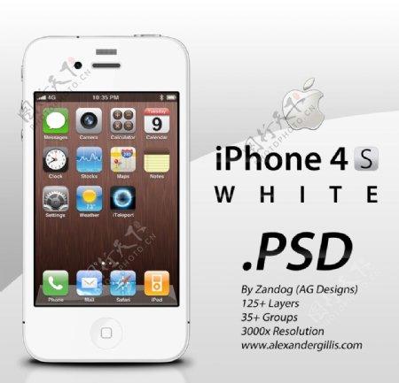 白色iphone4s手机高清图片