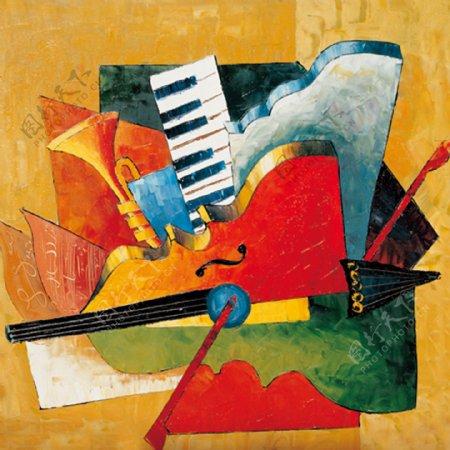 抽象音乐器材画