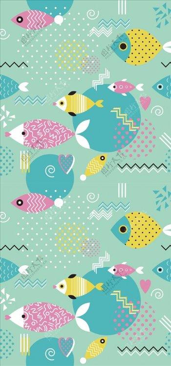 几何方块小鱼儿四方连续底纹