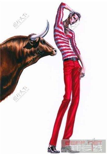 红色条纹男装设计图