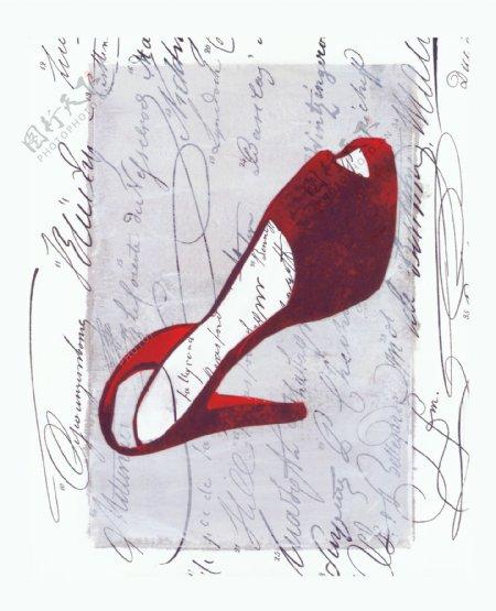抽象简约版画鞋子