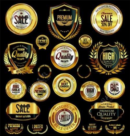 金色盾牌质量保证标签图片