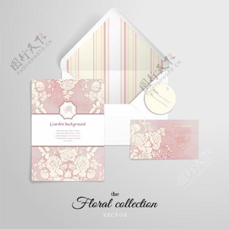 素雅植物花朵婚礼信封卡片矢量素材