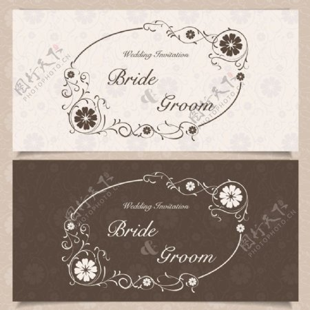白色圆环花朵花藤婚礼请贴