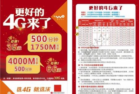 中国联通4G套餐单张