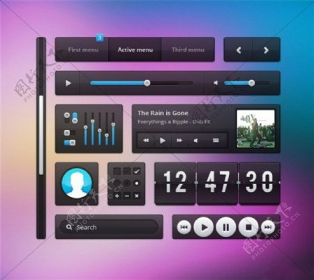 精美手机软件常用UI元素PSD