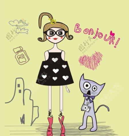 漫画小女孩猫星人
