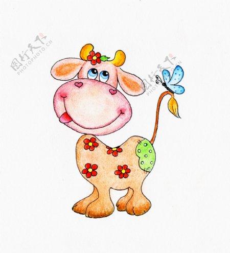 卡通小牛与蝴蝶