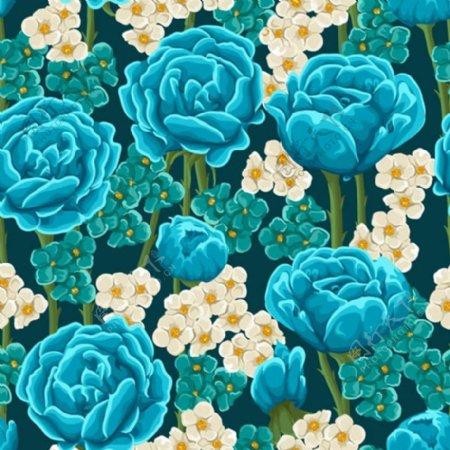 蓝玫瑰花卉无缝背景矢量素材下载