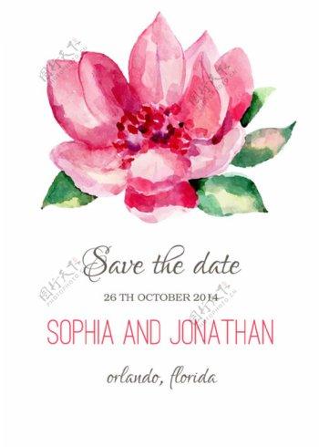 水彩粉色花朵婚礼请贴图片