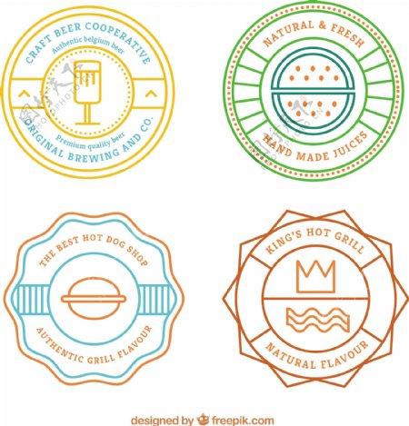 食品的彩色复古徽章