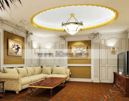 欧洲风格的优雅的客厅