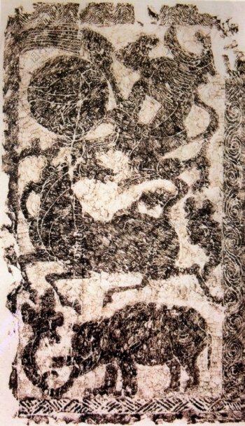 神农治水画像石之一东汉