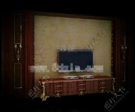 欧洲风格的豪华黄金电视墙