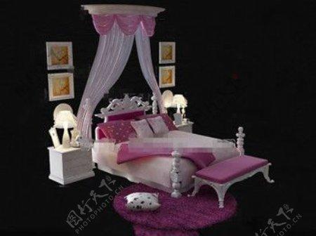 欧洲风格的粉红色和白色的床