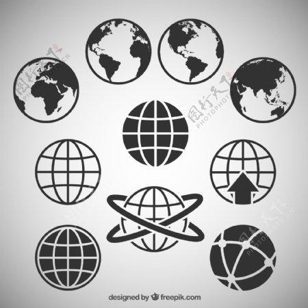 黑色抽象地球矢量图