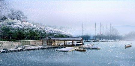 湖泊雪景环境设计图片