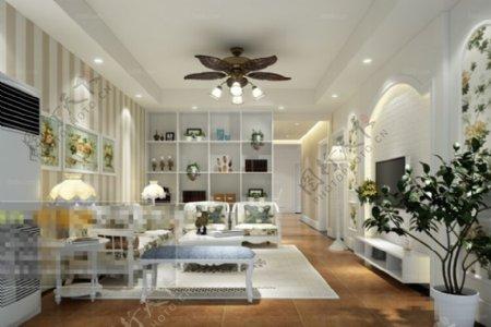 客厅空间摆设3D模型素材免费下载