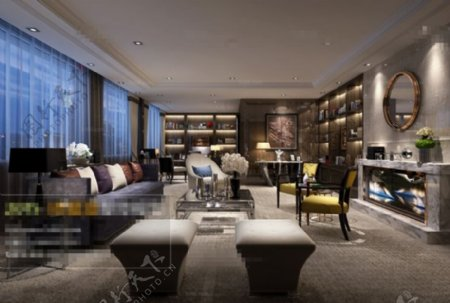 客厅空间场景效果3D模型素材免费下载
