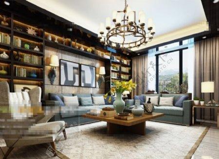 客厅空间摆设设计3D模型素材