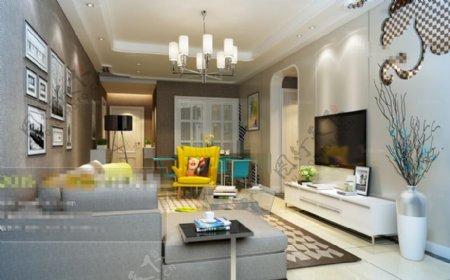 温馨客厅空间3D模型素材