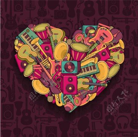 心形彩色音乐背景图片