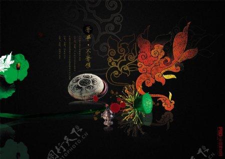 中国古风荷花牡丹笔墨纸砚暗底海报