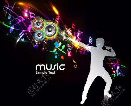 动感光线音符激情舞蹈人物音乐背景