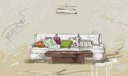 手绘家居沙发插画