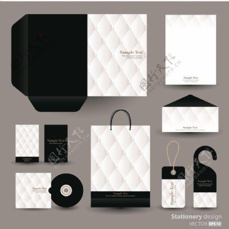 黑色格子包装拼接创意文化vi素材