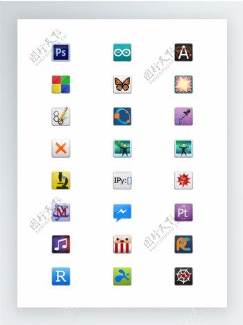 方形圆角风格的应用程序SVG矢量图标集