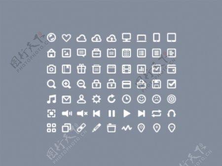 63个白色线条矢量图标icons