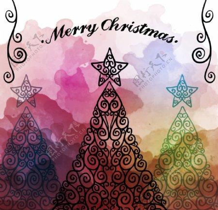 水彩圣诞树贺卡