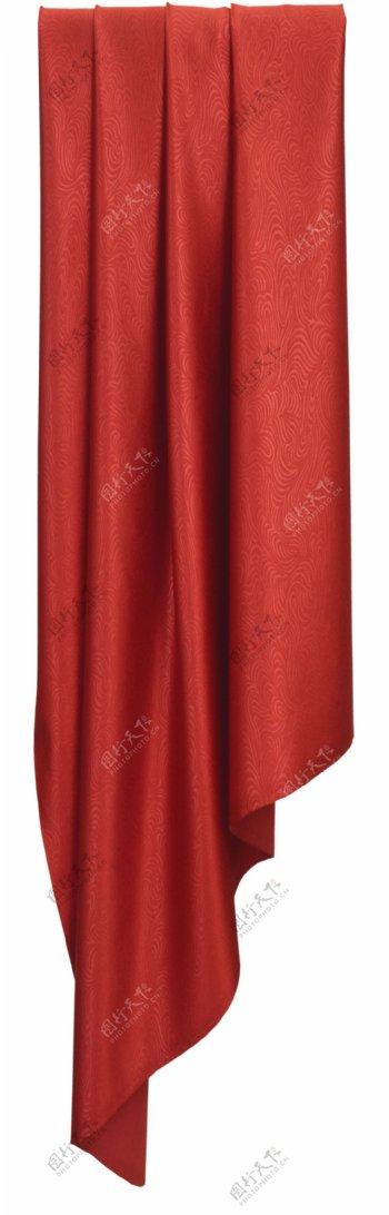 红色花纹窗帘元素