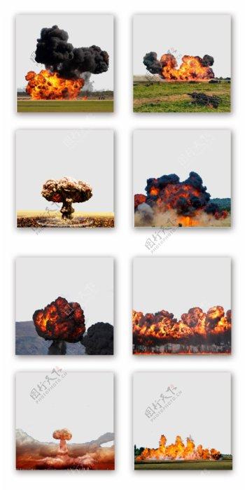 一组爆炸硝烟背景设计元素